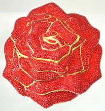 Judith Leiber ROSE Red Flower Crystal Clasp Bag Evening GOLD Vintage Minaudiere