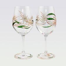 Set Of 2 Hand Painted Wedding Wine Glasses Art Glass Handmade Gift Decoration