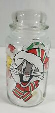 """Looney Tunes Glass Jar With Lid Bugs Bunny Tweety & Sylvester 8.5"""" X 4"""""""