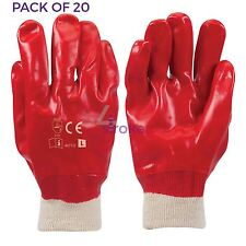 20 x Red PVC Gloves Full Dipped Best Safety Protective Workwear PPE
