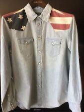 Ralph Lauren Wmns Blue Flag Chambray Western light denim Shirt Sz L NWT $125