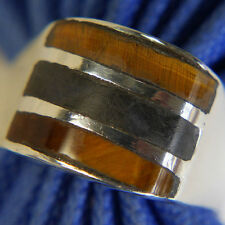 Vintage Herren Alle Knowing Tiger Auge Onyx 0.925 Sterlingsilber Ringgröße 10.5