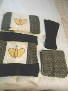 VTG BUTTERFLY HND EMBROIDERY HEART FLOWER PRINT QUILT BLOCKS PIECES TO BE FINISH