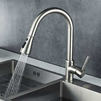 Modern Mono Kitchen Mixer Tap Pull Out Swivel Spout Brushed Finish Single Lever