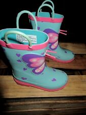 Kids' Girl Circo Gardening/ rain Rubber Boots Butterfly Pink Blue Large 9 /10