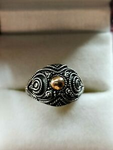 Vintage Sterling Silver With Gold Detail Ring Size M 2.3g