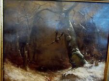 1879 dated Trees Winter Signed Landscape Antique Oil Painting estate framed