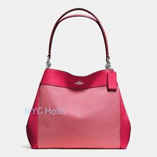 New Coach F57540 Lexy Shoulder Bag In Legacy Jacquard Milk Bright Red NWT