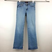 Vigoss Womens Jeans 9/10 Blue Bootcut Light Wash Distressed
