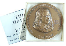 NYU Hall of Fame ELIAS HOWE Inventor By Frank Gasparro bronze 76mm
