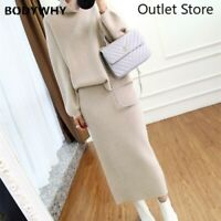 Women Turtleneck Wool Sweater Cardigan Skirt Knitted Skirts Loose Two-piece Suit