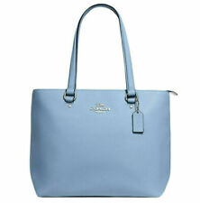 NWT Coach F48637 Bay Tote Cornflower Blue Polished Pebble Leather Shoulder Bag
