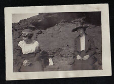 Old Vintage Antique Photograph Two Women Wearing Cool Outfits and Hats