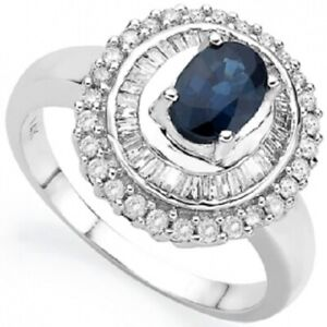 Womens 14K Solid White Gold 3/5 CTW Diamond and Sapphire Size 7.75 Designer Ring