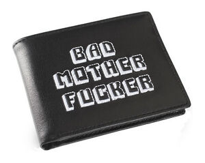 Black White Embroidered Bad Mother Fu**er Leather Wallet As Seen in Pulp Fiction