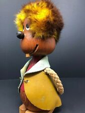 Vintage Mid Century Hans Bolling Teak Wood Troll Doll Figure Yellow Fuzzy Hair