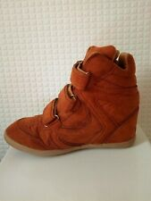 Womens new tan brown strap high top trainer ankle wedge boots shoe u.k size 5
