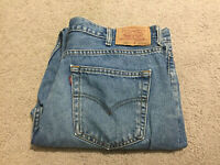 Levi Strauss Mens Blue Denim Jeans 504 W40 L32 Authentic Genuine Levis Male