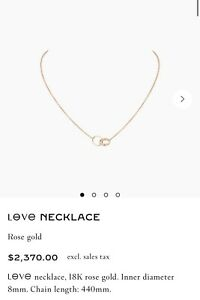 Cartier Love Necklace 18k Rose Gold Brand New Authentic In Box W/ Receipt + Cert