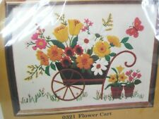 Vtg The Creative Circle Flower Cart Crewel Embroidery Kit Wheelbarrow Butterfly