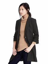 NWT Banana Republic Melton Wool Buttoned Top Coat, Black SIZE 6     #256724 E111
