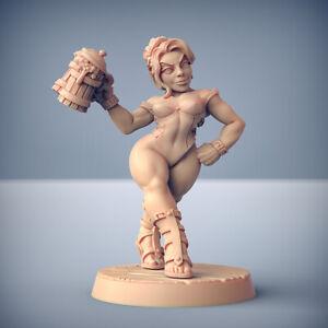 Dwarf Barmaid Pinup - Artisan Guild Fantasy Dungeons and Dragons Miniature