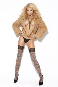 Leopard Print Thigh Hi w/Lace on Top! Adult Woman Exotic Clothing Animal Print
