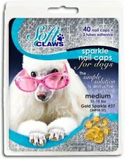Soft Claws Canine Nail Caps - 40 Nail Caps and Adhesive for Dogs (Gold Sparkle,