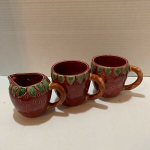 Strawberry Two Mugs & Creamer Berry Shaped Leaves Stem Handle Fun