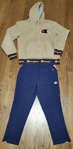 +Nice CHAMPION Fleece Jogging Track Suit Ladies M Medium Camel Blue Genuine