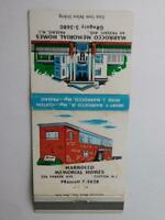 MARROCO MEMORIAL FUNERAL HOME VINTAGE MATCHBOOK ADVERTISING PASSAIC CLIFTON NJ