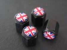 Red Mini Union Jack Wheel Valve Caps Black