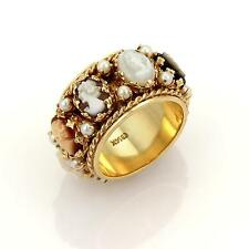 Retro Mother of Pearl Shell Cameo & Seed Pearls 14k Rose Gold Band Ring