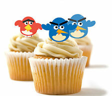 ✿ 24 Edible Rice Paper Cup Cake Toppings, cake dec - Angry Birds✿