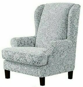 Subrtex Wing Chair Stretch Slipcover Light Smoky Gray Jacquard Damask