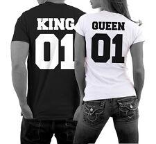 Pärchen Shirt KING 01 Partner T-Shirt QUEEN 01 Couple Fun Satire Hochzeit WOW