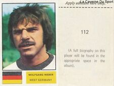 112 WEBER WEST GERMANY STICKER Soccer Stars WORLD CUP 1974 FKS PUBLISHER