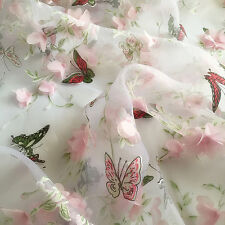 3D Chiffon Butterfly Lace Fabric Flower Embroidered Trimmings Colorful Sewing