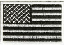 SUBDUED BLACK AND WHITE AMERICAN FLAG USA MILITARY EMBROIDERED PATCH