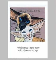 NEW ORIGINAL LARGE SIAMESE CAT ART PAINTING VALENTINES CARD BY SUZANNE LE GOOD