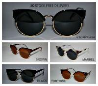 80s Retro fashion sunglasses vintage cateye halfrim plastic,metal Black New uk