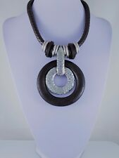 Antique Silver Brown Wood Large Ethnic Chunky Round Pendant Lagenlook Necklace