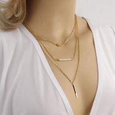 NEU Multilayer Kette 3 Reihen Münze Perlen Trendlook Mehrreihig gold H47