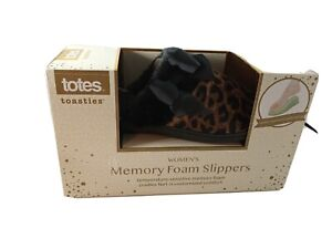Totes - Toasties Brown Animal Print Memory Foam Slippers - Size 8 -9 Large