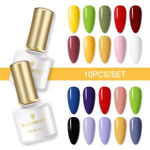 10 Bottles BORN PRETTY Soak Off UV Gel Nail Polish LED Glitter Gel Varnish Set