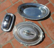 Serving Dish Oval Old English Lid Removable Handle Butter Dish Tray Silverplat