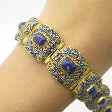 "Antq China 925 Sterling Silver Real Lapis Gemstone Wide Handmade Bracelet 7 1/4"""