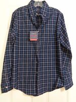 Croft & Barrow Men's Easy Care Woven Shirt Blue Plaid Size Small NWT