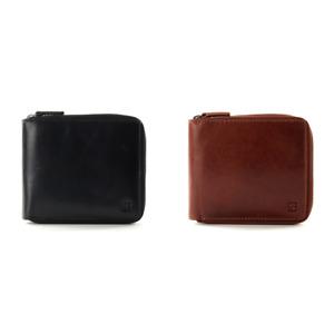 Redbrick Logan Mens Luxury Genuine Leather Zip Around Wallet RFID Black / Cognac
