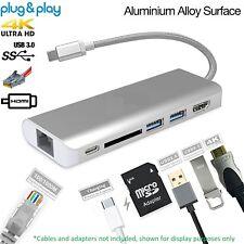 USB-C 3.0 Charging Data Transfer Hub TV HDMI SD Memory RJ45 Phone Ethernet USB